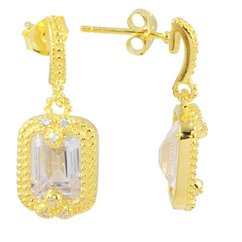 Wholesale Sterling Silver 925 Gold Plated Clear Rectangle Dangling Earrings - BGE00561CLR