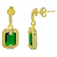 Sterling Silver Gold Plated Green Rectangle Dangling Earring - BGE00561GRN
