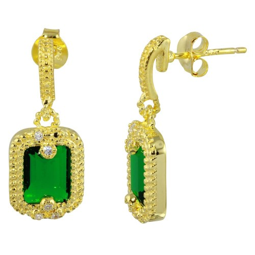 Wholesale Sterling Silver 925 Gold Plated Green Rectangle Dangling Earrings - BGE00561GRN