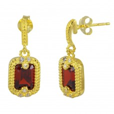 Wholesale Sterling Silver 925 Gold Plated Red Rectangle Dangling Earring - BGE00561RED