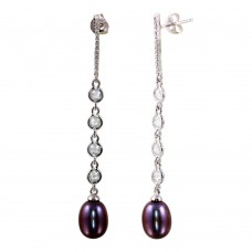 Sterling Silver Rhodium Plated CZ Bar Fresh Water Black Pearl Drop Earrings - BGE00563
