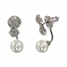Wholesale Sterling Silver 925 Rhodium Plated CZ Flowers with Synthetic Pearl Drop Earrings - BGE00564