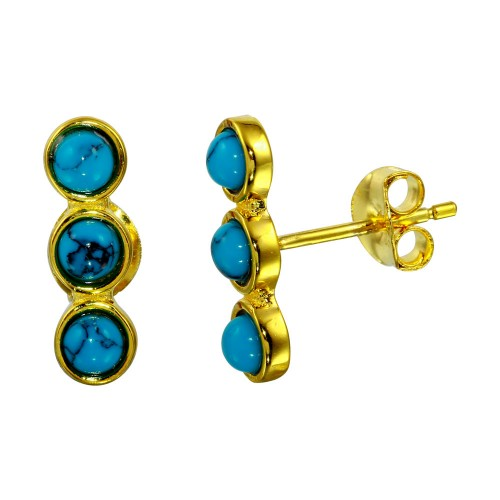 Wholesale Sterling Silver 925 Gold Plated 3 Round Turquoise Earrings - BGE00565