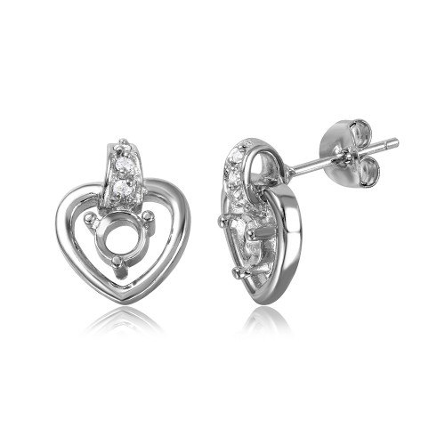 Wholesale Sterling Silver 925 Rhodium Plated Personalized Hanging Heart Mounting with CZ - BGE00855
