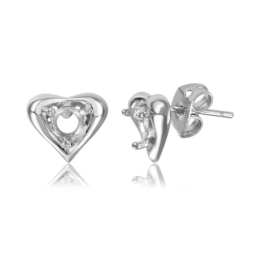 Wholesale Sterling Silver 925 Rhodium Plated Personalized Heart Mounting Earrings - BGE00856