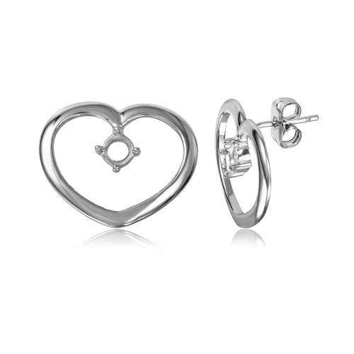 Wholesale Sterling Silver 925 Rhodium Plated Personalized Open Heart Mounting Earrings - BGE00857