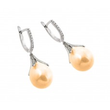 Sterling Silver Rhodium Plated Channel CZ Champagne Synthetic Pearl Lever Back Earring - BGE00262