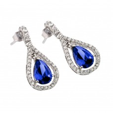 Wholesale Sterling Silver 925 Rhodium Plated Channel Blue Teardrop CZ Dangling Stud Earrings - BGE00366B