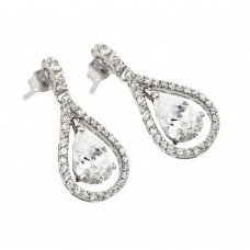 Wholesale Sterling Silver 925 Rhodium Plated Channel Teardrop CZ Dangling Stud Earrings - BGE00366C
