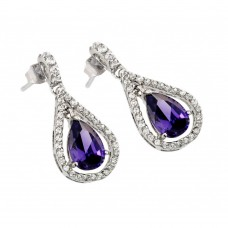 Wholesale Sterling Silver 925 Rhodium Plated Open Teardrop Purple Center CZ Earrings - BGE00366P