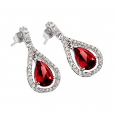 Wholesale Sterling Silver 925 Rhodium Plated Channel Teardrop Red and Clear CZ Dangling Stud Earrings - BGE00366R