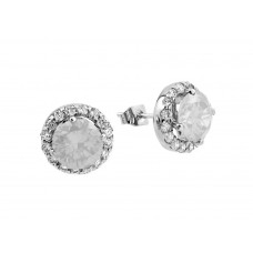 Wholesale Sterling Silver 925 Rhodium Plated Clear Round CZ Stud Earrings - BGE00368C