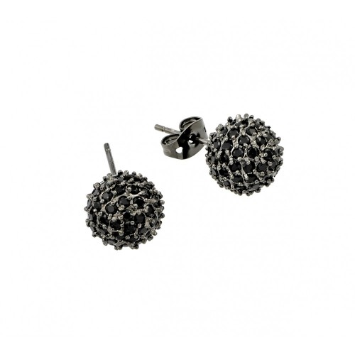 -Closeout- Wholesale Sterling Silver 925 Rhodium Plated Black Multi CZ Stud Earrings - BGE00371BLK