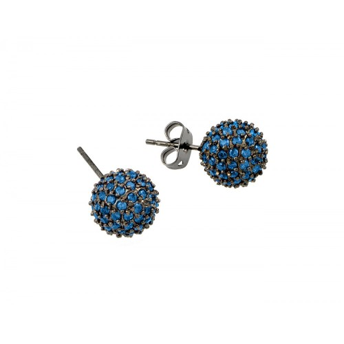 -Closeout- Wholesale Sterling Silver 925 Rhodium Plated Blue CZ Stud Earrings - BGE00371BLU