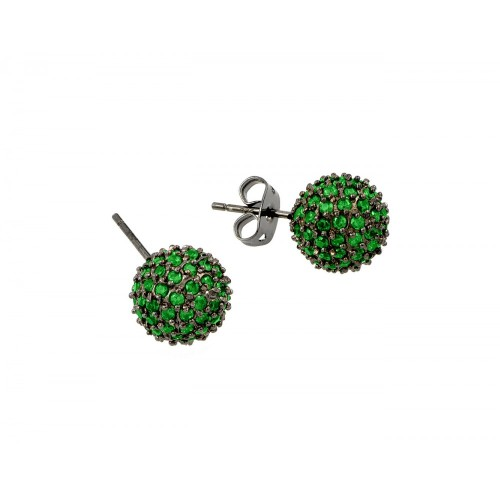 -Closeout- Wholesale Sterling Silver 925 Rhodium Plated Green CZ Stud Earrings - BGE00371GRE