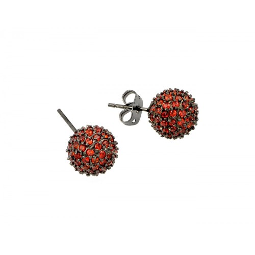 -Closeout- Wholesale Sterling Silver 925 Rhodium Plated Champagne Ball CZ Stud Earrings - BGE00371ORG