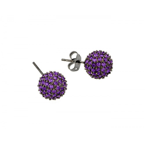 -Closeout- Wholesale Sterling Silver 925 Rhodium Plated Purple Ball CZ Stud Earrings - BGE00371PUR