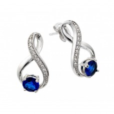 Wholesale Sterling Silver 925 Rhodium Plated Round Blue Round Ribbon Channel CZ Stud Earrings - BGE00383