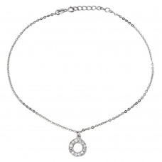 Sterling Silver Rhodium Plated Dangling Open Circle with CZ Anklet - BGF00010
