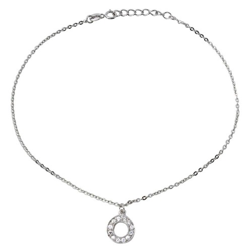 Wholesale Sterling Silver 925 Rhodium Plated Dangling Open Circle with CZ Anklet - BGF00010