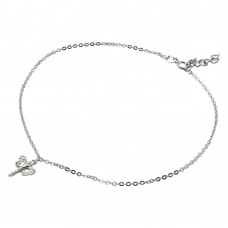 Sterling Silver Rhodium Plated Dangling Dragonfly Anklet with CZ - BGF00011
