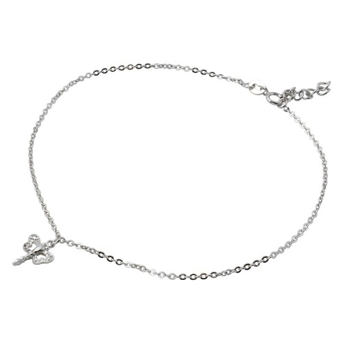 Wholesale Sterling Silver 925 Rhodium Plated Dangling Dragonfly Anklet with CZ - BGF00011