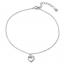 Sterling Silver Rhodium Plated Dangling Curved Open Heart with CZ Anklet - BGF00015