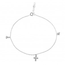 Sterling Silver Rhodium Plated Heart Cross & Triangle Drop Anklet - BGF00016