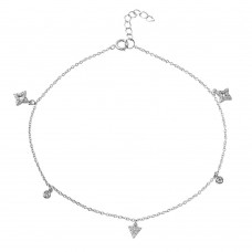 Sterling Silver Rhodium Plated Triangle & Rhombus Drop Anklet with CZ - BGF00017