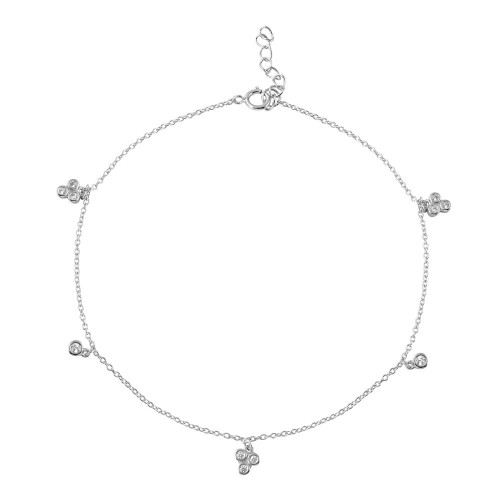 Wholesale Sterling Silver 925 Rhodium Plated Three Leaf Clover Drop Anklet - BGF00018