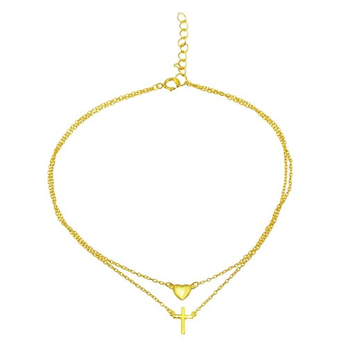 Wholesale Sterling Silver 925 Gold Plated Double Chain Cross and Heart Anklet - BGF00019GP