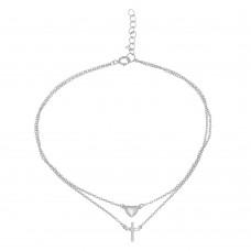 Wholesale Sterling Silver 925 Rhodium Plated Double Chain Heart and Cross Anklet - BGF00019RHD