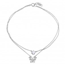 Sterling Silver Rhodium Plated Double Chain Anklet with Butterfly and CZ - BGF00020