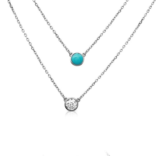 Wholesale Sterling Silver 925 Rhodium Plated 2 Stranded Necklace with Turquoise and CZ - BGP01167