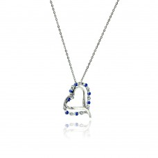 Sterling Silver Double Open Heart Pendant with Blue and Clear CZ Accents - BGP00031BLUE