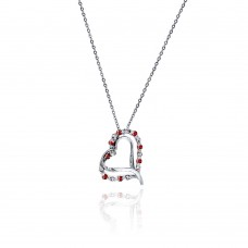 Sterling Silver Red and Clear CZ Rhodium Plated Heart Necklace -  BGP00031RED
