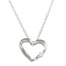 Wholesale Sterling Silver 925 Rhodium Plated Open Heart Necklace with CZ - BGP00085