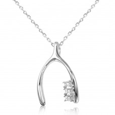 Sterling Silver Rhodium Plated Personalized Wish Bone With 3 Mounting For Stones - BGP00539
