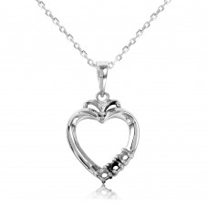 Sterling Silver Rhodium Plated Personalized 3 Mounting Open Heart Necklace - BGP00544