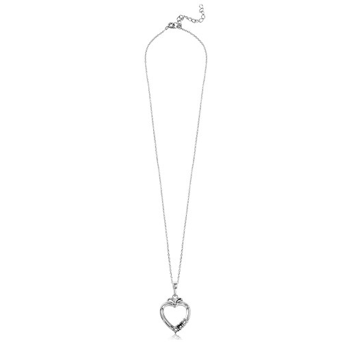 Wholesale Sterling Silver 925 Rhodium Plated Personalized 3 Mounting Open Heart Necklace - BGP00544