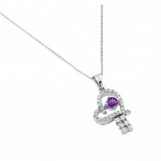 Wholesale Sterling Silver 925 Rhodium Plated Purple CZ Heart Pendant - BGP00719