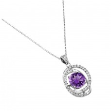 Wholesale Sterling Silver 925 Rhodium Plated Purple CZ Circle Pendant - BGP00723