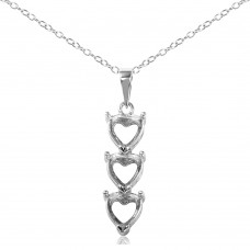 Sterling Silver Rhodium Plated Personalized 3 Heart Drop Mounting Necklace - BGP00780