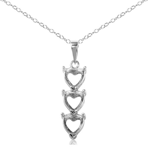 Wholesale Sterling Silver 925 Rhodium Plated Personalized 3 Heart Drop Mounting Necklace - BGP00780