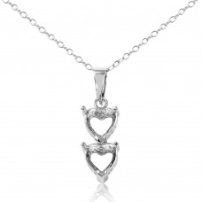 Sterling Silver Rhodium Plated Personalized 2 Heart Drop Mounting Necklace - BGP00781