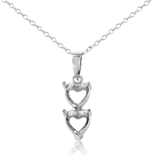 Wholesale Sterling Silver 925 Rhodium Plated Personalized 2 Heart Drop Mounting Necklace - BGP00781