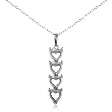 Sterling Silver Rhodium Plated Personalized 4 Heart Drop Mounting Necklace - BGP00782