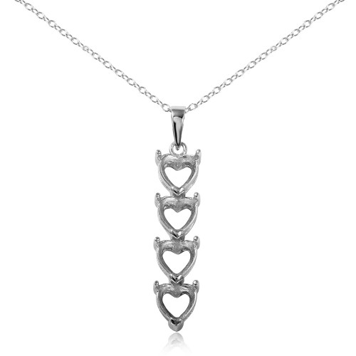 Wholesale Sterling Silver 925 Rhodium Plated Personalized 4 Heart Drop Mounting Necklace - BGP00782