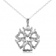 Wholesale Sterling Silver 925 Rhodium Plated Personalized 6 Hearts Mounting Flower Necklace - BGP00783