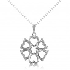 Sterling Silver Rhodium Plated Personalized 4 Hearts Mounting 2 Open Heart Flower Necklace - BGP00784